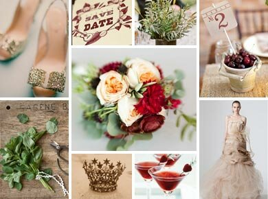 Cranberry, Sage, and Gold Wedding Inspiration Board