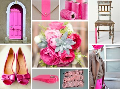 Neon Pink and Oyster Gray Wedding Inspiration Board