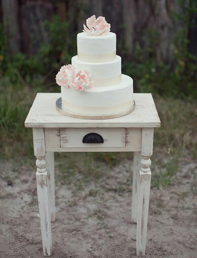 Ivory Wedding Cake with Pink Peonies