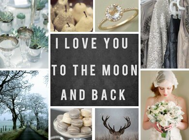Silver, Evergreen, and Gray Winter Wedding Inspiration Board